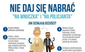 Ulotka - Uważaj na oszustwa metodą na wnuczka i na policjanta - KPP Oświęcim