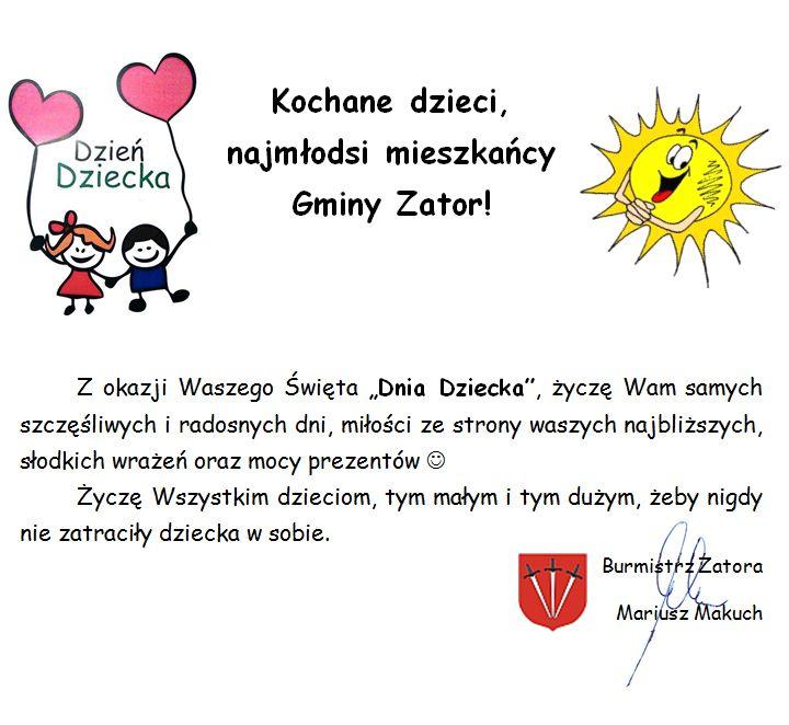 dzień dziecka - życzenia - Burmistrz  Zatora