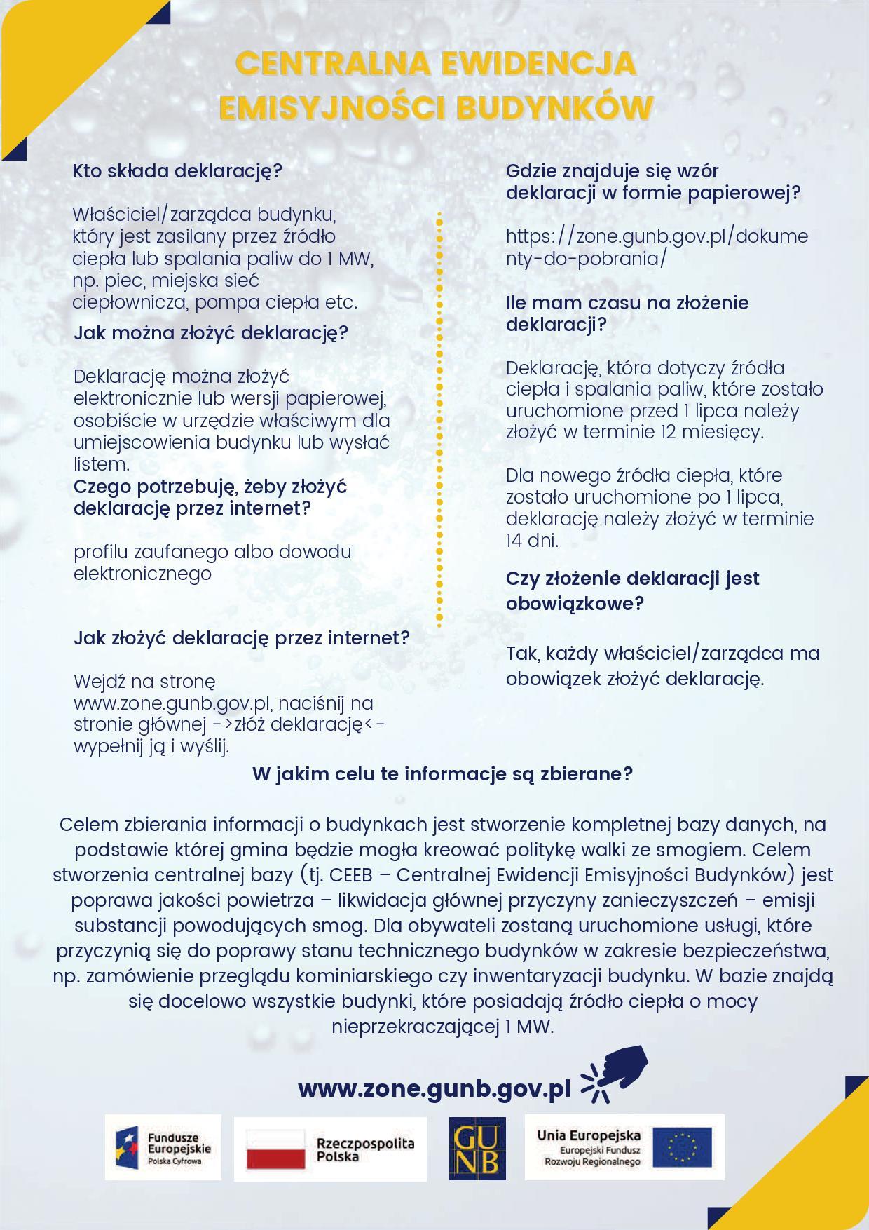 Składanie deklaracji do Centralnej Ewidencji Emisyjności Budynków